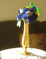 Antique Vase, Bead Flowers_001 by annora-stock