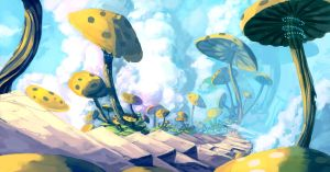 Sky Mushrooms by Paperheadman