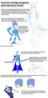 Aurora's design progress and reference sheet by Unknown117