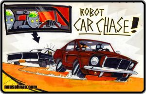 Robot Car Chase by Rob-Schrab