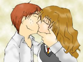 Ron X Hermione, Mature Kiss by W1LLSUN