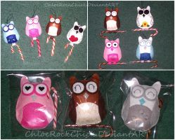 Owl plushies by ChloeRockChick14