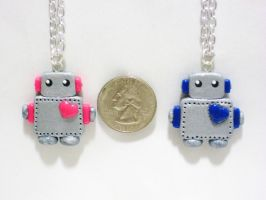 Super Cute Robot Necklace Choose your Color by SaphirazlilJewels