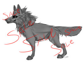 Shaded female wolf lines 20 pts by AgentWhiteHawk