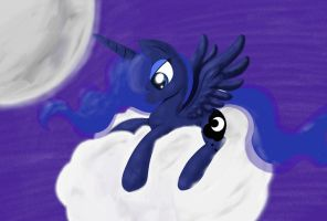 Luna on a Cloud by Conmankez