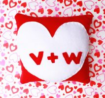 Valentines Day Initials Pillow by CosmiCosmos