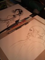 Fury and Black Widow - in progress... by Spidertof