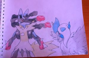 Mega Lucario and Mega Absol by Krayzieee