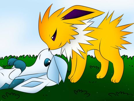 Glaceon X Jolteon by DarkrexS