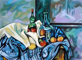 Bottles and apples by bazaroff