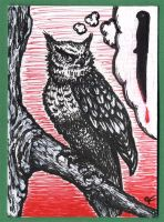 ATC - Crazy-eyed Murdrous Owl by thecymbalwench