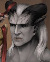 Unbound detail: Ketojan's face by drawanon
