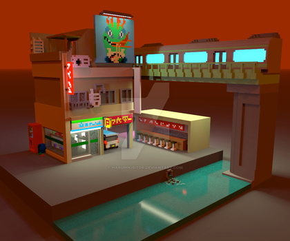 Voxel One night in Tokyo by HaruInkisitor