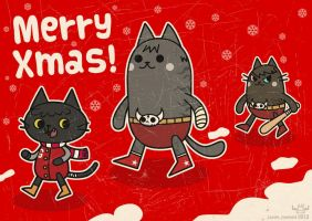 Merry Christmas from the Tres Gatos cat gang! by ExoesqueletoDV