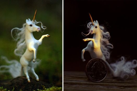 Miniature White Unicorn by SovaeArt