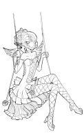 Swinging angel - lineart by Namtia