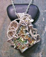 Steampunk Bismuth and Swarovski Crystal Pendant by HeatherJordanJewelry