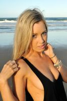 Louise C - black singlet on beach 2 by wildplaces