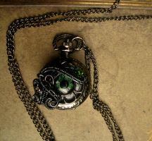 Petite - Green Violet Black Pewter Pocket Watch by LadyPirotessa
