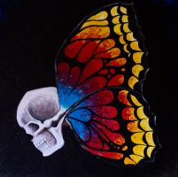 Skull and butterfly by HedgehogMolly