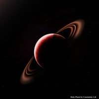 Ringed ruby planet by CreaperX