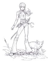 Adventurer and Pig by staino