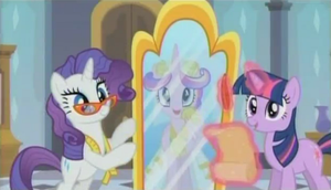 Princess Cadence looking in the mirror by SawyerMoonKitty