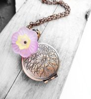 Antique Copper Round Locket Necklace by crystaland