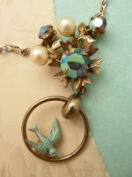 Flying bird necklace by janedean