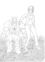 Doc and the giant robot by yamumil