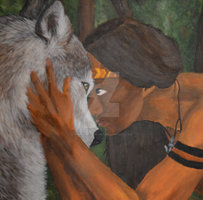 Indian and wolf by AngelInTheHeart