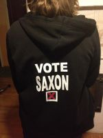 My 'Vote for Saxon' hoodie by unclebenscandyworks