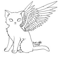 For to color, Angel-cat by Tori-Ohki