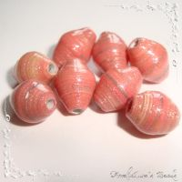 Salmon paper beads by AmeliaLune
