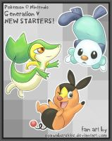 Generation V Starter Pokemon by OgawaBurukku