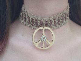 Peace and Lace Hemp Choker by NightsMemories