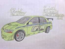 PW Tribute Drawing (FINAL): 2001 Mitsubishi Evo 7 by ShiftyGuy1994