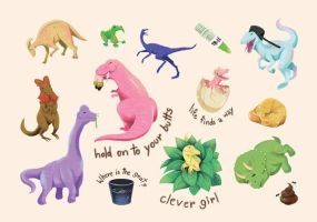 Jurassic Park sticker sheet by poperart