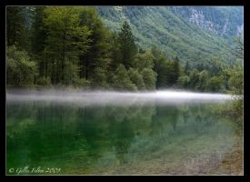 Mist over the lake by Swordtemper