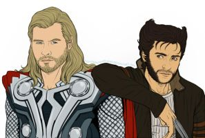 Fandom Challenge - Thor and Wolverine by Kumagorochan