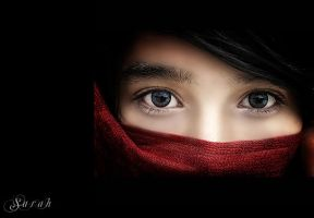 Women red scarf by doedyjepang