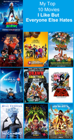 My Top 10 Movies I Like But Everyone Else Hates by Toongirl18