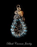 Copper and Blue Glass by blackcurrantjewelry