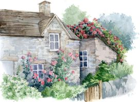 Cottage With Roses by ArtGalla