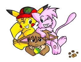 Ash, Gary and Seturetsu by Coshi-Dragonite