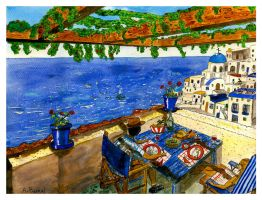 Lunchtime in Santorini.- by themaninthehatart