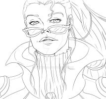 Vayne, League of Legends Line Art by Luthien90