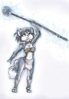 Krystal and her staff by shiroiwolf