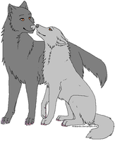 Wolf Couple Lineart  By Arukardis by RoseShadow7598