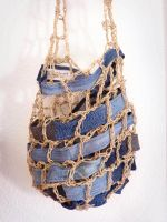 Net Denim Patchwork Sling Bag Recycled Jeans by ajnataya